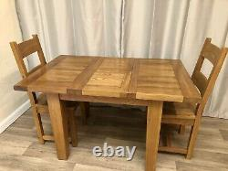 100% Solid Oak Extendable Dining Table & 2 Solid Oak Chairs Rustic Cottage Style