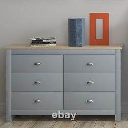6 Drawer Chest of Drawers Traditional Shabby Chic Sideboard Entryway Grey Oak