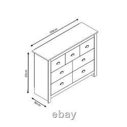 7 Drawer Merchant Chest Office Hallway Furniture Grey & Light Oak Shabby Chic