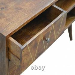 AF Range Solid Wood 2 Drawer TV Media Unit Stand with Brass Inlay