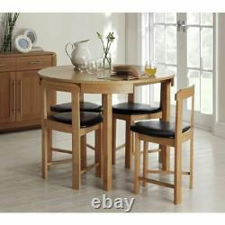 Alena Space Saver Solid Wood Dining Table & 4 Oak Chairs Space Saving
