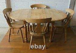 Antique Style Country Farmhouse Solid Pine Kitchen Dining Table & 4 Oak Chairs
