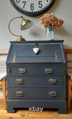 Antique Vintage Painted Farrow&Ball Art Nouveau Oak Bureau study computer desk