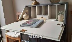 Antique Vintage Painted Farrow & Ball Oak Bureau study computer desk