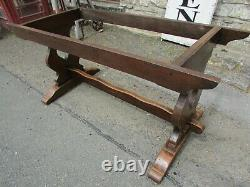 Antique vintage solid oak REFECTORY TABLE 6ft monk ends dining table early 20thC