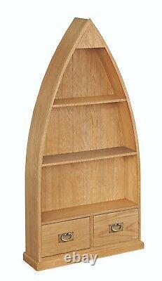 Baysdale Oak Boat Bookcase / Rustic Shelving Unit / Bookshelf Storage Cabinet