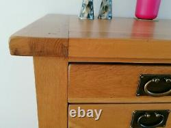 Besp-Oak SOLID OAK Wide Low CHEST OF DRAWERS Lounge, Dining, Bedroom