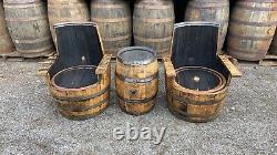 Bespoke Rustic Solid Oak Refurbished Whiskey Barrel Chair Patio Garden Furniture