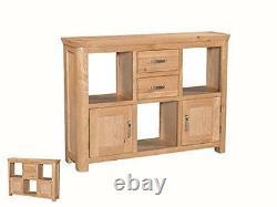 Bevel Natural Solid Light Oak Low Display Shelving Unit Drawers Doors DiningRoom