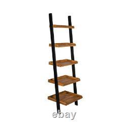 Black Solid Oiled Oak Wooden Lean To Ladder Shelving Unit Stand Book Shelf