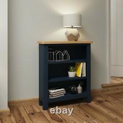 Blue Small Bookcase / Painted Oak Low Wide Book Shelf / Dovedale Mini Bookshelf