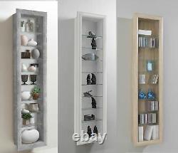 Bora Wall Mounted Glass & Wood Display Cabinet Shelving