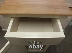 Buckingham Painted 1 Door Cupboard Solid Oak Top- Bespoke- Off White