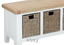 Canterbury White Large Hall Bench / Hall Seat With Drawers / Hall Seat Storage