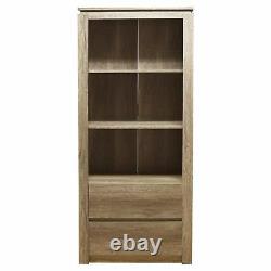 Canyon Oak Bookshelves Shelf Bookcase Stand Cabinet Storage 3 Shelves 2 Drawers