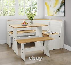 Corner Dining Set with Table and Benches Kitchen Home Furniture Solid Pine Wood