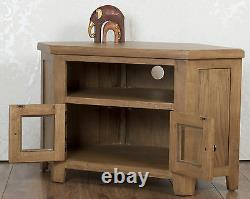Corner TV Cabinet Stand Unit Glass Doors Chunky Dorset Country Solid Oak