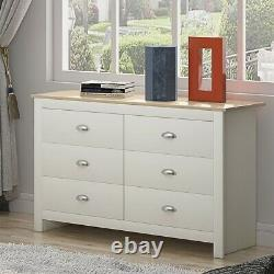 Cream & Light Oak 6 Drawer Traditional Chest of Drawers Shabby Chic Bedroom