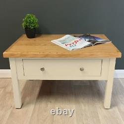 Cream Painted Oak Coffee Table / Cotswold / Storage Drawers / Solid Wood / New