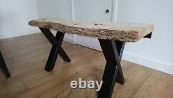 Custom Dining coffee table solid wood slab waney Edge pippy burr live oak elm