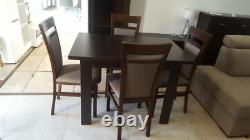 DINING SET extending dining table & 4 chairs in dark wood strong and solid Kam02