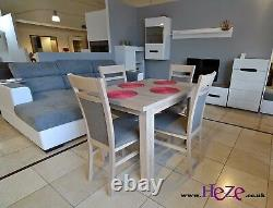 DINING SET extending dining table & 4 chairs oak sonoma, strong and solid Kam02