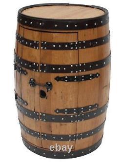 DRINK CABINET Double Doors 3 racks Handcrafted Solid Scotch Whisky Oak Barrel