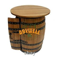 DRINK CABINET with Oakwood Table Top Handcrafted Solid Oak Barrel Furniture