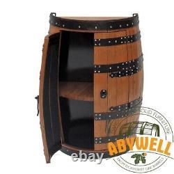 DRINKS CABINET Double Doors 1 shelf Handmade Solid Scotch Whisky Oak 1/2 Barrel