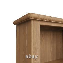 Danish Light Oak Tall Narrow Bookcase / Slim Solid Wood Bookshelf Display Unit