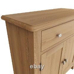 Danish Oak Mini Sideboard / Small 2 Door Cupboard Solid Wood Storage Cabinet