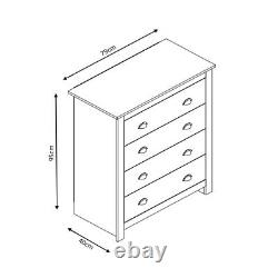 Dark Grey Light Oak 4 Drawer Chest Traditional Shaker Style Home Office Bedroom