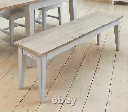 Dining Bench Large Solid Wood Grey Limed Oak Top Signature