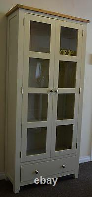 Dorset Glass Display Cabinet Solid Oak Pine in Painted French Ivory Cream