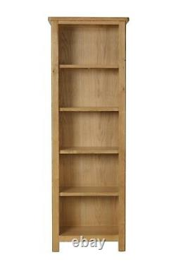 Dovedale Oak Large Bookcase / Rustic Solid Narrow Book Shelf / Wooden Cabinet