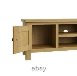 Dovedale Oak Large TV Unit / Rustic Solid Media Stand / Wooden Cabinet