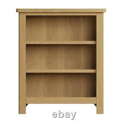 Dovedale Oak Small Bookcase / Rustic Solid Wide Book Shelf / Wooden Cabinet