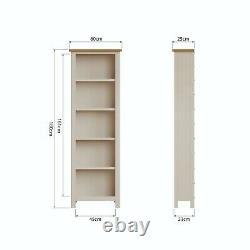 Dovedale Truffle Grey Large Bookcase / Painted Oak Narrow Book Shelf / Cabinet