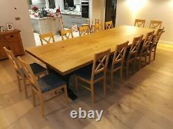 Extra wide 12-14-16-18 seat dining table, Infinity Range, solid Oak topAny colour