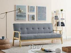 Fabric Sofa Bed 3 Seater Wooden Frame Scandinavian Design Sofabed Recliner