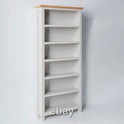 Farrow Grey Tall Bookcase Large Painted Solid Wood 6 Book Shelf Display Unit Oak