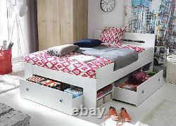 Great double bed with shelfs and drawers, spacious and comfortable, white
