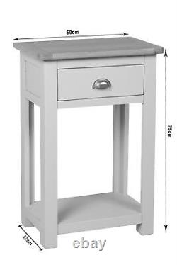 Grey Painted Small Console Table Oak Hallway Solid Wood Telephone Table Sutton