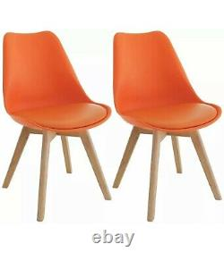 Habitat Jerry Pair of Dining Chairs Solid Wooden Legs In Orange Cheapest On eBay