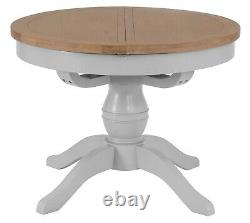 Hartwell Grey 1.1m Round Butterfly Extending Dining Table Circular Kitchen Table