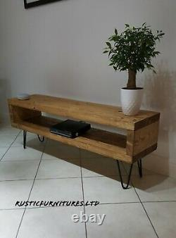Industrial Hairpin Legs TV Stand/TV Unit/Rustic Handmade Furniture/Solid Wood