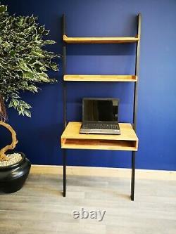 Industrial Laptop Desk / Oak Writing Desk / Solid Wood Ladder Shelving Unit