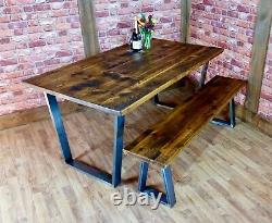 Industrial Live Edge Dining Table and Bench Set Reclaimed Vintage Dining Tops