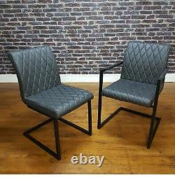 Industrial Rectangle Dining Set Metal Oak Table & Vintage Leather Dining Chairs