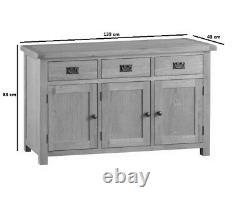 Kingsford Solid Oak Large Wide 3 Door Sideboard / Rustic Cupboard Storage Unit